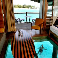 Glass floor bungalow on Bora Bora. If at all possible, try to reserve one of these over-the-water bungalows for at least a couple nights if you go to Tahiti! It is absolutely amazing. At night, lights come on under your bungalow which attract the fish . Bora Bora Honeymoon, Bora Bora Resorts, Honeymoon Spots, Hotels And Resorts, Luxury Hotels, Maldives Hotels, Maldives Travel, Maldives Resort, Honeymoon Ideas