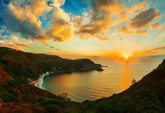 Orange Golden Sunset high coastal seascape print by Myartspace Painting Prints, Canvas Prints, Art Prints, Myrtos Beach, Zen, Best Sunset, Greek Islands, Frames On Wall, Greece