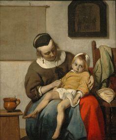 L'Enfant malade, vers 1660, Gabriel Metsu - Dutch painter
