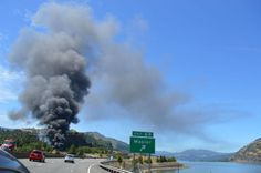 A Union Pacific train carrying volatile Bakken crude oil derailed in Oregon's Columbia River Gorge June 3, 2016, sparking a large blaze and prompting evacuations and road closures around the nearby town of Mosier.