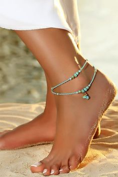 Western Anklet Anklet Ankle Bracelet Foot Jewelry Southwest Anklet Boho Anklet Turquoise Blue Anklet Brown Ankle Jewelry Beaded Anklet