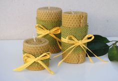 Hand Rolled Beeswax Candles  Set of 3 by Filareton on Etsy
