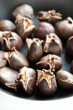 Chestnuts, photo by Mowie Kay. Gah, I love these. They make the whole house smell like sugar cookies. And so delicious with goat cheese, or milk, or honey or apples...