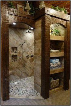 bathroom remodel before and after * bathroom remodel ; bathroom remodel on a budget ; bathroom remodel before and after ; bathroom remodel with tub Dream Bathrooms, Beautiful Bathrooms, Log Cabin Bathrooms, Chic Bathrooms, Rustic Bathroom Designs, Shower Designs, Rustic Bathroom Decor, Rustic Room, Home Remodeling
