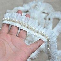 Wish | 1 yard Vintage Beige Pearl Beaded Cotton Chiffon Embroidered Lace Trim Ribbon Fabric Handmade DIY Wedding Dress Sewing Craft