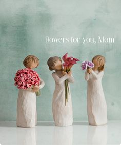 """Willow Tree Figurines-Abundance • Bloom • Thank You """"flowers for Mom"""""""