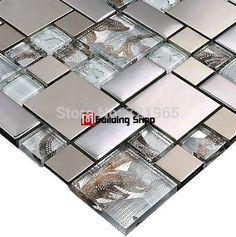 Online Buy Glass Metal Mosaic Tiles for kitchen backsplash & bathroom wall flooring remolding at factory wholesale price. Huge selection of glass mosaic, glass tiles, metallic tile mosaic & glass metal mosaics. Glass Mosaic Tile Backsplash, Stainless Backsplash, Stone Mosaic Tile, Mosaic Glass, Kitchen Backsplash, Wall Tiles, Glass Tiles, Mosaic Floors, Backsplash Ideas
