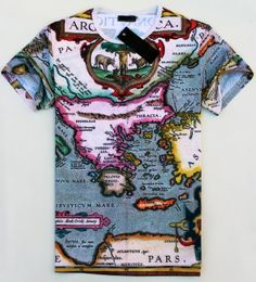 Grey Short Sleeve Map Print T-shirt zł52.50