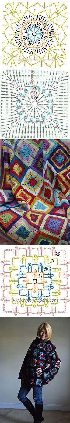 БАБУШКИН КВАДРАТ.МОТИВЫ. Crochet Squares, Grannies Crochet, Crochet Circles, Crochet Blocks, Granny Square Crochet Pattern, Crochet Diagram, Crochet Chart, Thread Crochet, Easy Crochet Patterns