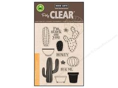 """Hero Arts Poly Clear Stamps can be applied to a Clear base to see precisely where you place the image. Manufactured from 100% photo-polymer, and are non-toxic as well as latex and phthalate free. Your Own Cactus stamp set includes 13 stamps: 3 plant containers, 2 flowers, 5 cactus plants, along with captions """"I'm stuck on you"""", """"Howdy"""", and """"Hug Me."""""""