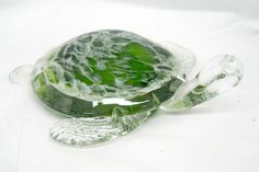 New Hand Blown Glass Kelp Green and White Sea Turtle Figurine $72.99