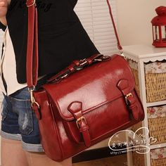 2015 women  korean ' spring fashion antique vintage briefcase Wine red  cross-body women messenger bag  free shipping