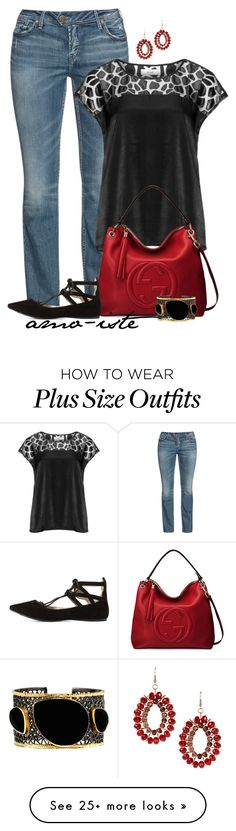 """""""Red Bag - plus size"""" by amo-iste on Polyvore featuring Silver Jeans Co., Zizzi, Gucci, Charlotte Russe, Mela Artisans and Dettagli"""