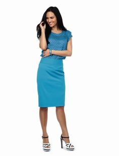 Horizontal pintuck top and pleat-waist pencil skirt from the Limited