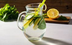 water detox with fresh cucumber and lemon healthy drink