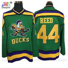 2017 Dwayne Mens Mighty Ducks Movie Ice Hockey Jersey Vintage 44 Fulton  Reed Jersey Winter Wear 54090cffc60