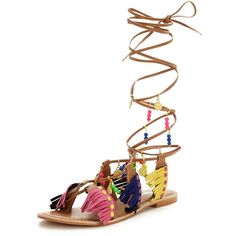 Glamorous Fringed Tie Up Flat Sandal&Nbsp; ($43) ❤ liked on Polyvore featuring shoes, sandals, beaded flat sandals, beaded sandals, lace up sandals, lace up gladiator sandals and beaded gladiator sandals