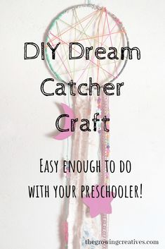 Easy Dream Catcher Craft & The Growing Creatives This Dream Catcher is easy enough to do with a preschooler (with assistance) or school-aged kid. Your little dreamers will love showing off this beautiful craft! New Crafts, Crafts To Do, Easy Crafts, Easy Diy, Crafts For Kids, Recycle Crafts, Children Crafts, Reuse Recycle, Diy Dream Catcher For Kids