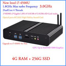 DHL Free Shipping HTPC Windows Linux Compatiable Intel Core i7 haswell 4GB DDR3 256GB SSD MINI PC Computer Ultra HD 4K…