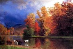 Albert Bierstadt On the Saco painting is shipped worldwide,including stretched canvas and framed art.This Albert Bierstadt On the Saco painting is available at custom size. Oil Painting For Sale, Paintings For Sale, Oil Painting On Canvas, Oil Paintings, Paintings Online, Autumn Painting, Autumn Art, Animal Paintings, Painting Art