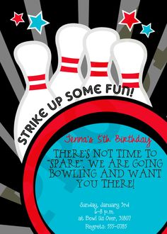 Bowling Party - Bowling Party Printables - Bowling Birthday Party Boy Birthday Girl Birthday Children Teens. $15.00, via Etsy.