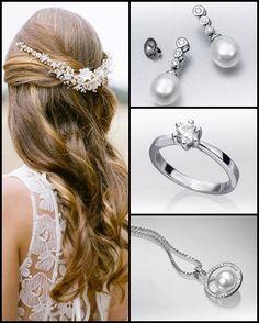 #Estilo romántico con un #peinado sencillo pero con mucho encanto, perfecto para lucir unos #pendientes de oro blanco de 18 cts. con #diamantes y #perlas cultivadas. Además, puedes añadir al #look un colgante a juego. La ocasión perfecta para lucir tu #anillo de compromiso.