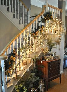 gorgeous 31 Affordable Indoor Christmas Stairs Decor Ideas That Will Amaze You Christmas Stairs Decorations, Decorating With Christmas Lights, Holiday Decorating, Noel Christmas, Winter Christmas, Christmas Trimmings, Thanksgiving Holiday, Thanksgiving Decorations, Christmas Tree Inspiration