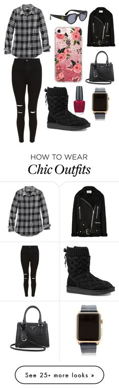 """""""Sans titre #2659"""" by merveille67120 on Polyvore featuring L.L.Bean, New Look, UGG, Chanel, Casetify, Acne Studios, Prada, Hadoro and OPI"""