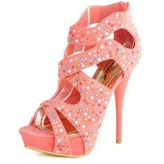 Strappy Rhinestone High Heels, this shoe looks like a cupcake!!!