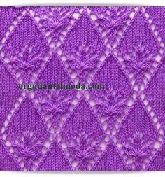 Related posts: Lace argyle free knitting stitch Lace diamond motif free knitting pattern Stripes and Torchon Lace Diamond. Lace Knitting Stitches, Crochet Stitches Patterns, Knitting Charts, Lace Patterns, Loom Knitting, Knitting Designs, Knitting Patterns Free, Free Knitting, Knitting Projects