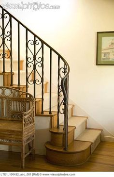 Staircase with wrought iron railing and carpet runner
