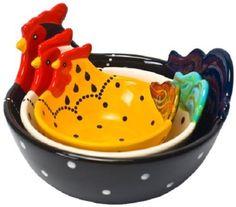 Housewares International 3-Piece Hand-Painted Ceramic Roo...