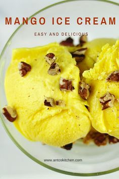 Mango ice cream - homemade ice cream with fresh mangoes