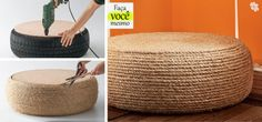 Passo a passo para fazer um pufe ecológico com um pneu descartado. Fotos publicadas na revista MINHA CASA.