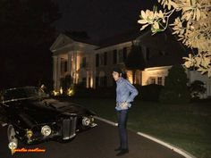 """Elvis in front of Graceland. He must have looked around sometimes and thought to himself """"How did I get here?"""""""