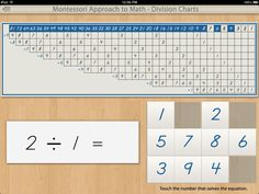 Division Charts for the iPad by Mobile Montessori.
