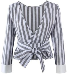 Tenworld Women Long Sleeve Sexy Backless Loose Striped Shirt Blouse Tops (S, ) - ShopStyle Striped Long Sleeve Shirt, Long Sleeve Shirts, Blouse Styles, Blouse Designs, Backless Shirt, Backless Top, Gris Rose, Fashion Figures, Lace Sleeves