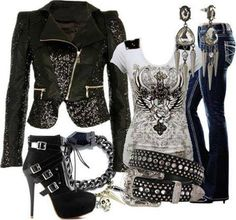 Perfect biker chick look. Perfect for me. :-) Take the shoes out too high for me even though it looks great together. Komplette Outfits, Casual Outfits, Fashion Outfits, Womens Fashion, Biker Outfits, Tomboy Outfits, Dance Outfits, Fashion Ideas, Gothic Fashion