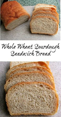 This whole wheat sourdough sandwich bread is great toasted with honey or preserves but also makes a delicious sandwich. It comes together easily and you will love the results!(Baking Bread Whole Wheat) Tostadas, Sandwich Bread Recipes, Bread Machine Recipes, Homemade Sandwich Bread, Filet Mignon Chorizo, Sourdough Recipes, Sourdough Whole Wheat Bread Recipe, Whole Wheat Sandwich Bread Recipe, Almond Recipes