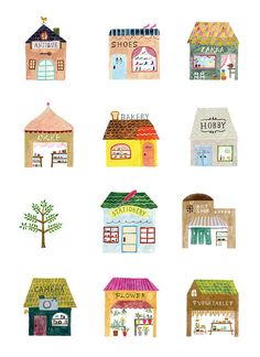 Draw Lots of It post by Studio Sjoesjoe; illustration by Aiko Fukawa. Art And Illustration, Illustration Mignonne, Building Illustration, Illustrations Posters, Magazine Illustration, Illustrator, Painting, Stationery, Doodles