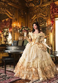 Halloween Custom Belle Upscale Adult Fantasy Sparkle Deluxe Gown with Flowers