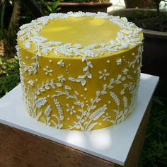 Beautiful buttercream cake with hand-piped detail. By Hayati Abd Rahim