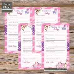 Baby+shower+well+wishes+girls+pink++safari++by+paperclever,+$6.00