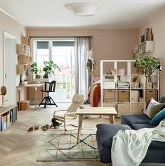 IKEA Kallax as room divider The Nordroom - How To Design A Studio Apartment Tiny Studio Apartments, Studio Apartment Layout, Studio Apartment Decorating, Apartment Ideas, Studio Apartment Divider, Student Apartment, Studio Layout, Apartment Office, One Bedroom Apartment