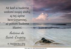 Až keď si budeme vedomí svojej úlohy, aj tej úplne bezvýznamnej, až potom budeme šťastní.Antoine de Saint-Exupéry