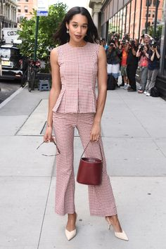 Laura Harrier mixes her gingham with perfect accessories