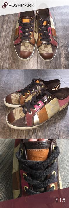 Coach casual sneakers🍂🍁 Super cute & casual for fall! Back label came off on the right shoe Coach Shoes Sneakers