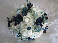 Reserved Listing for.......Ebony......Teal blue by modagefloral