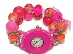 Pink Parfait Chunky Beaded Watch  Interchangeable by BeadsnTime