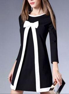 Elegant Womens Long Sleeve Bowknot Sweet Mini Skirt Dress Slim Fit New Cute Dresses, Beautiful Dresses, Casual Dresses, Short Dresses, Fashion Dresses, Mini Dresses, Cotton Dresses, Mini Skirt Dress, Mode Hijab